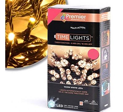 200 Supabright LED Vintage Gold Timer Coloured Christmas Lights
