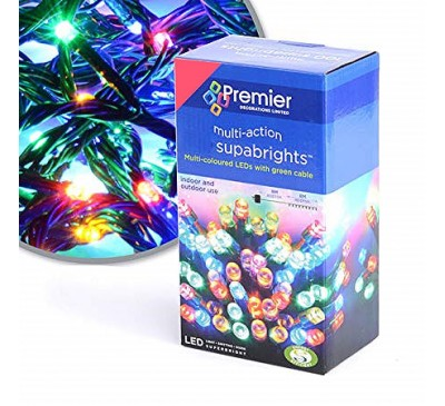 200 Supabright LED Multi Coloured Timer Christmas Lights