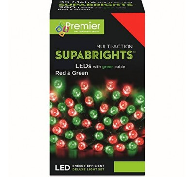 200 Supabright LED Red and Green Timer Coloured Christmas Lights
