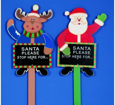 1M Santa Stop Battery Operated ard 2 Assorted