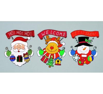 26cm Santa Snowman Reindeer Window Clinger  Assorted