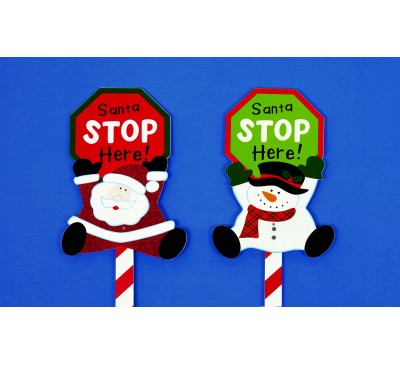1M Santa Stop Here Sign Assorted