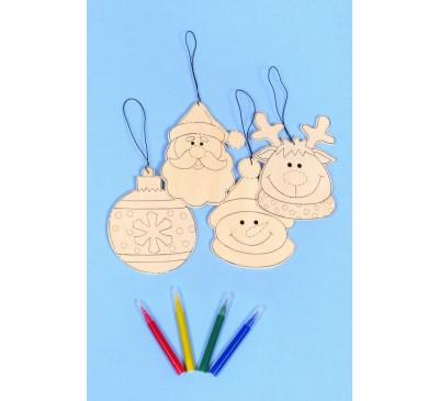 12cm Colour Your Own Hanging Decs Assorted Santa/Snowman Reindeer Bauble