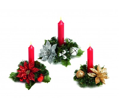 13cm 3 Assorted GIlluminated ter Poinsettia Ring Red/Gold/Silver