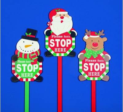 1M Wooden Santa Stop Here Sign Assorted