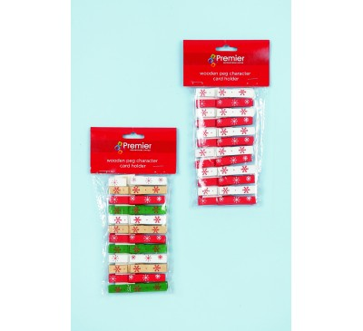 2 Assorted 12pc Wooden Peg Card Holders in Pack