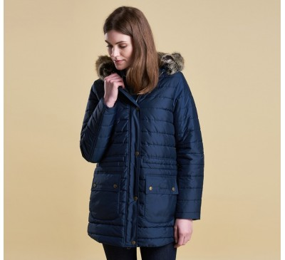 Barbour Womens Ascott Quilted Navy Coat