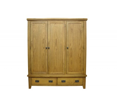 Cambridge Oak Bedroom Triple Wardrobe