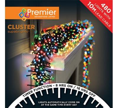 480 Cluster LED Multi Coloured Timer Christmas Lights