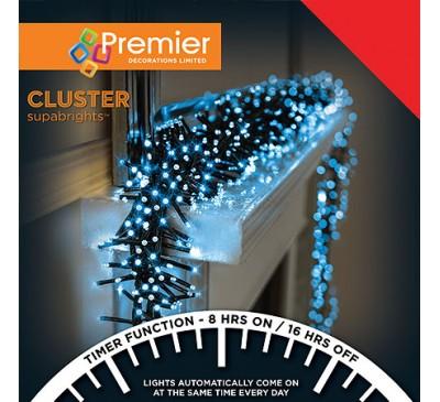 480 Cluster LED White Coloured Timer Christmas Lights