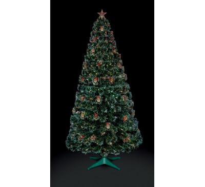 1.8M Fibre Optic Christmas Tree with Pine Cones and Berries with Tree Top Star