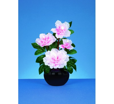40cm Fibre Optic Pink Peony  With White LEDs