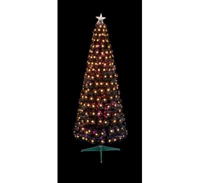 1.8M Slim Black Fibre Optic Christmas Tree Warm White LED Stars