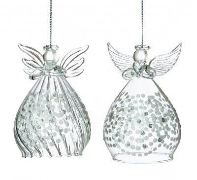 12cm Glass Assorted Angel 2 Assorted Clear With White Snowflake