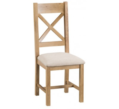Hawkshead Country Oak Cross Back Chair Fabric Seat