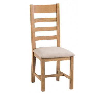 Hawkshead Country Oak Ladder Back Chair Fabric Seat