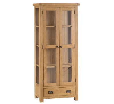 Hawkshead Country Oak Display Cabinet - Glass Doors