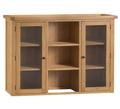 Hawkshead Country Oak Large Dresser Top - Glass Doors