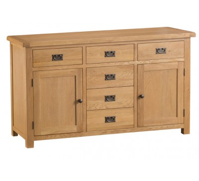 Hawkshead Country Oak 2 Door 6 Drawer Sideboard