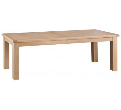 Hawkshead Lime Wash Oak 2.4m Butterfly Extending Table - Metal Runner