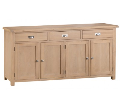 Hawkshead Lime Wash Oak 4 Door Sideboard