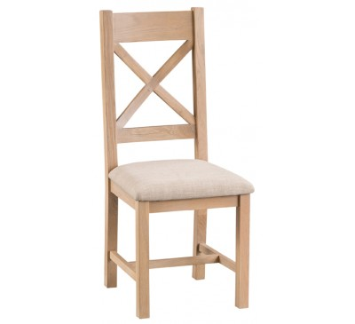 Hawkshead Lime Wash Oak Cross Back Chair Fabric Seat