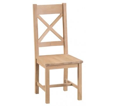 Hawkshead Lime Wash Oak Cross Back Chair Wooden Seat