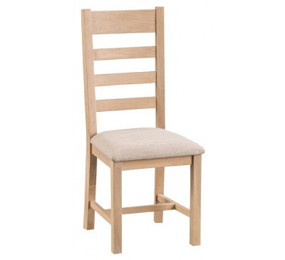 Hawkshead Lime Wash Oak Ladder Back Chair Fabric Seat