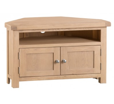 Hawkshead Lime Wash Oak Corner TV Unit