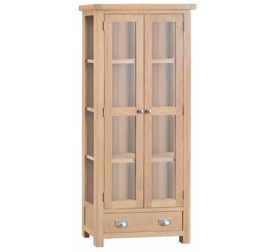 Hawkshead Lime Wash Oak Display Cabinet - Glass Doors