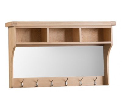 Hawkshead Lime Wash Oak Half Shelf Unit & Mirror