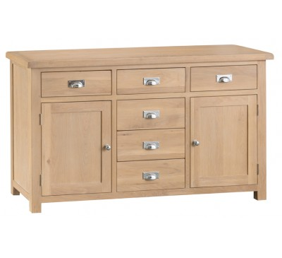 Hawkshead Lime Wash Oak 2 Door 6 Drawer Sideboard