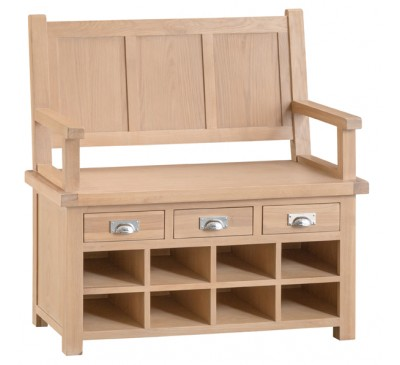 Hawkshead Lime Wash Oak Monks Bench