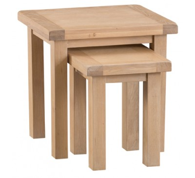Hawkshead Lime Wash Oak Nest of 2 Tables