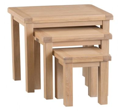 Hawkshead Lime Wash Oak Nest of 3 Tables