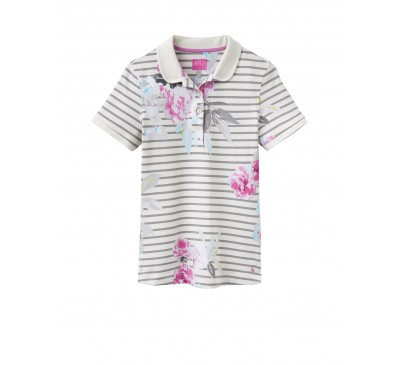Joules Trinity Grey Floral Slim Polo Shirt