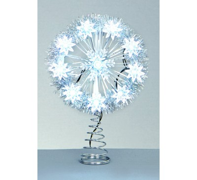 10 Battery Operated White LED Snowflake Tree Topper