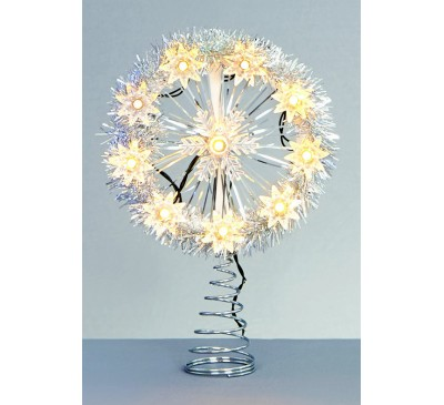 10 Battery Operated Warm White LED Snowflake Tree Topper