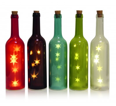 120pc Glass Assorted Battery Operated ttle with Stars 5 Assorted