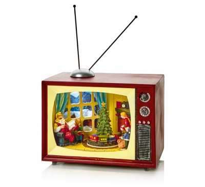 24cm Christmas TV Scene with Rotating Tree and Train