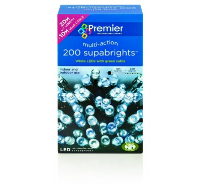 200 Multiaction LED Supabrights White with Green Cable