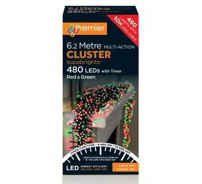 480 Cluster LED Red and Green Coloured Timer Christmas Lights