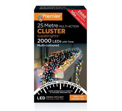 2000 Cluster LED Multi Coloured Timer Christmas Lights