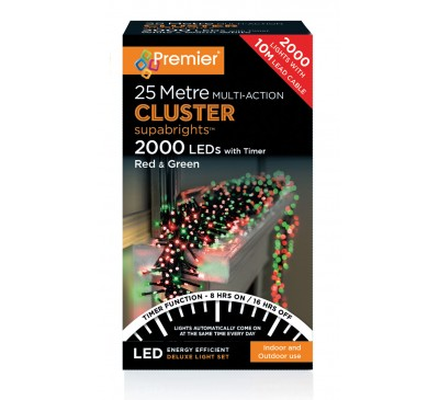 2000 Cluster LED Red and Green Coloured Timer Christmas Lights