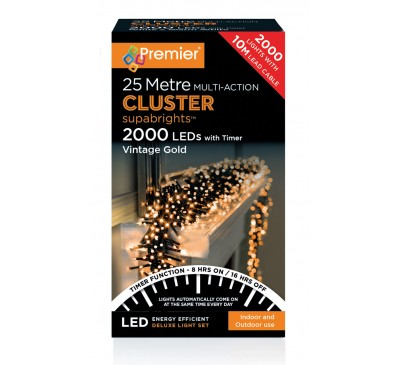 2000 Cluster LED Vintage Gold Coloured Timer Christmas Lights