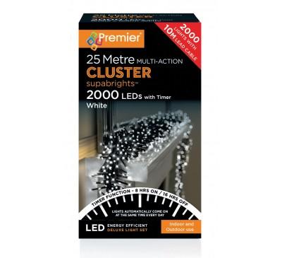 2000 Cluster LED White Coloured Timer Christmas Lights