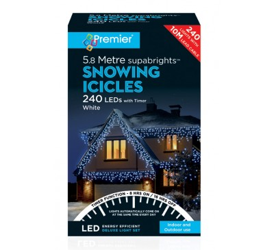 240 LED's Snowing Icicles White Coloured Timer Christmas Lights