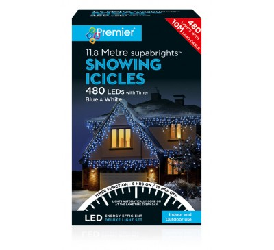 480 LED Snowing Icicles Blue and White Coloured Timer Christmas Lights