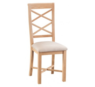 Calbeck Light Oak Double Cross Back Chair with Fabric Seat 41x50.5x100cm