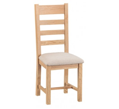 Calbeck Light Oak Ladder Back Chair with Fabric Seat 41x46.5x100cm